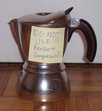 broken coffee machine